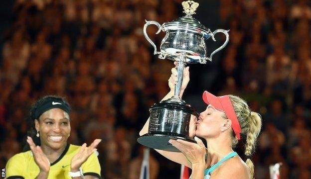 Jan. 2016: Angelique Kerber wins the Australian Open beating Serena Williams