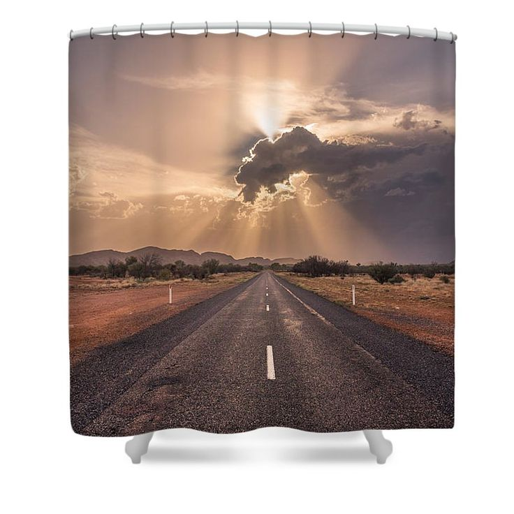 "The Calm Before The Storm Shower Curtain by Racheal  Christian. This shower curtain is made from 100% polyester fabric and includes 12 holes at the top of the curtain for simple hanging. The total dimensions of the shower curtain are 71"" wide x 74"" tall."