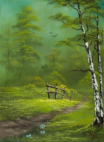 bob ross quiet trail paintings