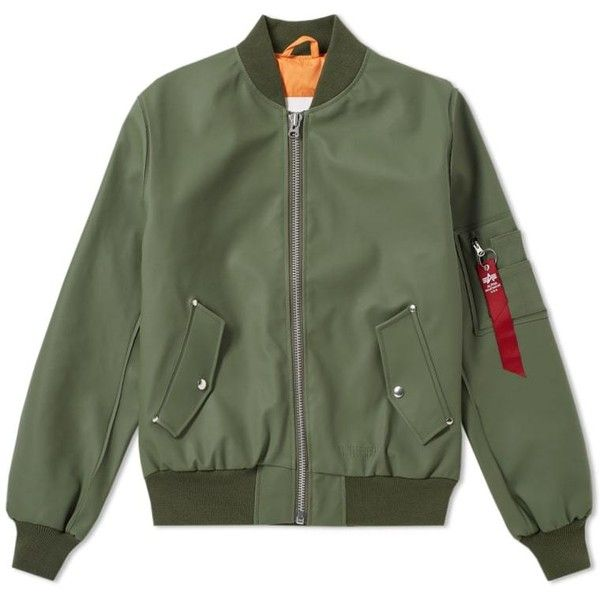 Stutterheim x Alpha Industries MA-1 Bomber Jacket (Sage Green) | END. ($495) ❤ liked on Polyvore featuring outerwear, jackets, green jacket, bomber style jacket, green bomber jackets, flight jackets and bomber jackets