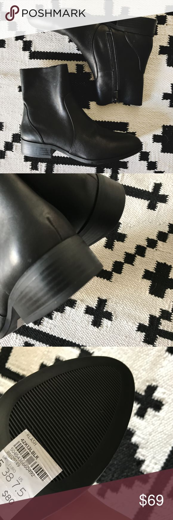 Topshop Klash Leather Sock Boots •Leather sock boots from Topshop  •Size US7.5/EU38, similar to Zara sizing. Best for a wide 7 or a narrow-normal 7.5.  •New with tag.  •No trades, no holds. Topshop Shoes Ankle Boots & Booties