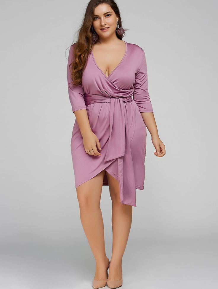 Plus Size Self-Tie Asymmetric Bridesmaid Wrap Dress #dress #women #style