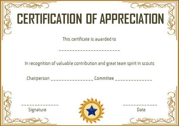 Scout Certificate Of Appreciation Certificates Template Appreciation Certificate Certificate