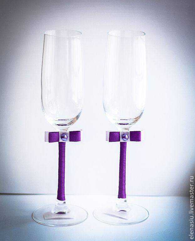 Купить Свадебные бокалы фиолетовые - тёмно-фиолетовый, фиолетовый, Бокалы, свадебные бокалы, фиолетовые бокалы
