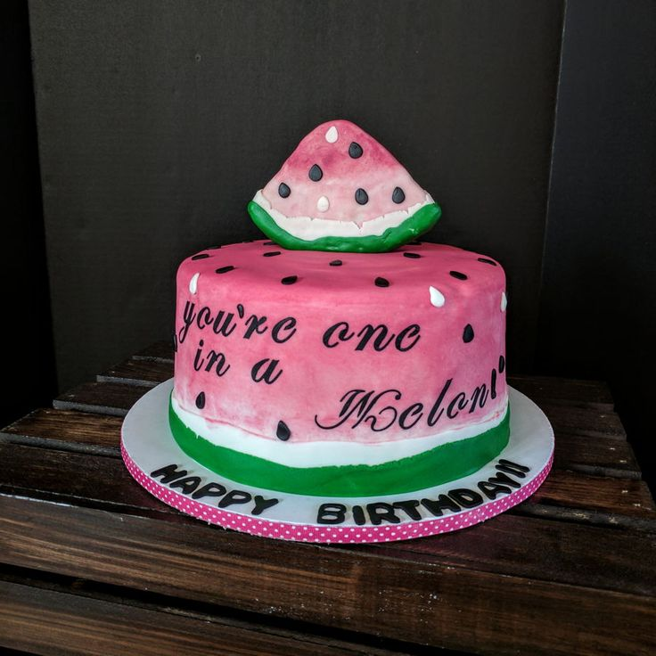 """""""you're One In A Melon"""" """"you're One In A Melon"""" Watermelon birthday cake and smash cake. #top-cakes #watermelon #cakecentral"""