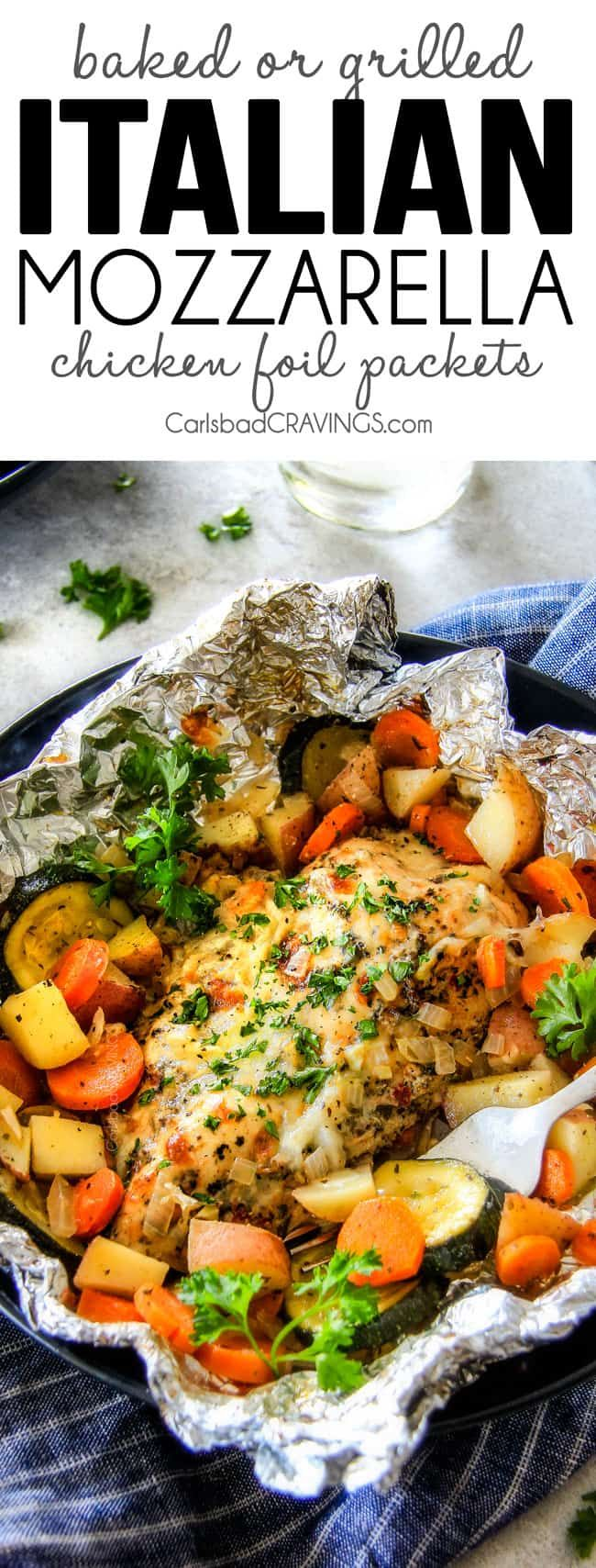 Baked or GrilledItalian Mozzarella Chicken Foil Packets are bursting with astonishingly juicy, flavorful chicken and tender, seasoned Potatoes, Carrots and Zucchini all smothered with Mozzarella Cheese! These foil packets are meal-in-one that are quick to throw together and even quicker to clean up!