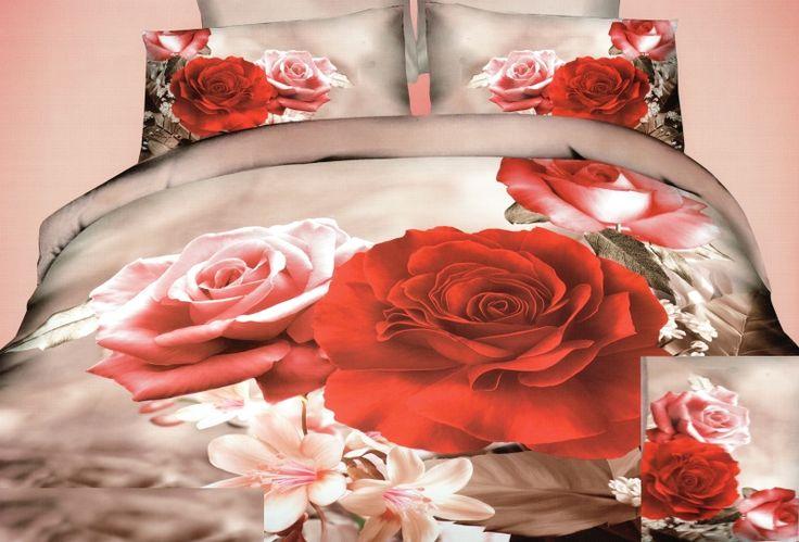 Béžové posteľné obliečky motív červenej ruže