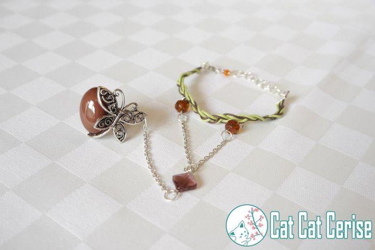 Pulsera hecha a mano con anillo de mariposa. #mariposa #butterfly #pulsera #bracelet #green #verde #jewelry #joyeria #mori #morigirl