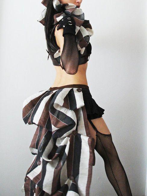 steampunk bustle dress stripes | Steampunk Bustle Skirt Long Striped Brown or Blue by Purpuratum