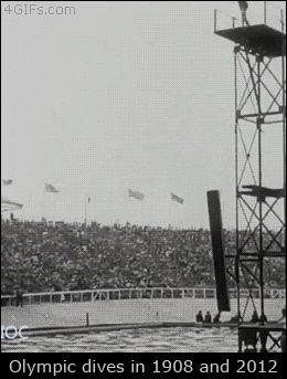 水泳の高飛び込み、100年前と今