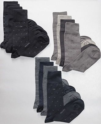 Calvin Klein Socks, 4 Pack Patterned Dress Socks - Mens Socks - Macy's - Black