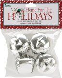 Jingle Bells 1-3/8-Inch, 4-Pack, Silver