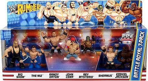 WWE Wrestling Rumblers Exclusive Mini Figure Battle Royal 7Pack Big Show, The Miz, Randy Orton, John Cena, Rey Mysterio, Sheamus Ezekiel Jackson