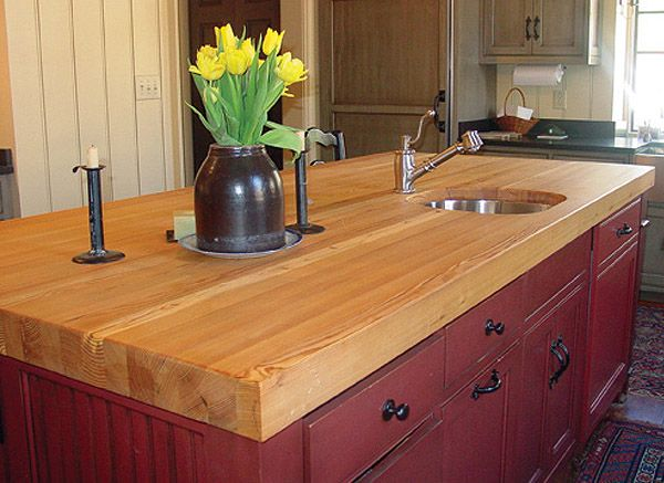 antique red kitchen cabinets double bowl sink smart reclaimed wood counter top craft art butcherblock ...