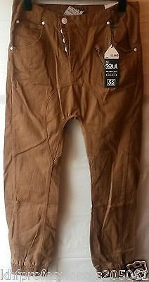MEN CHINOS TROUSER 55 SOUL MTR-FUEL QUALITY HARD TWISTED FIT TAN SIZE 34 42''