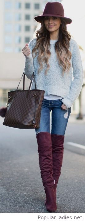 purple-high-boots-and-hat-blue-jeans-and-grey-blouse