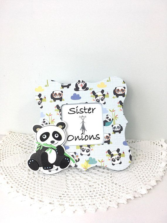 Decoupaged Picture Frame Panda Love Curvy Black And White Baby