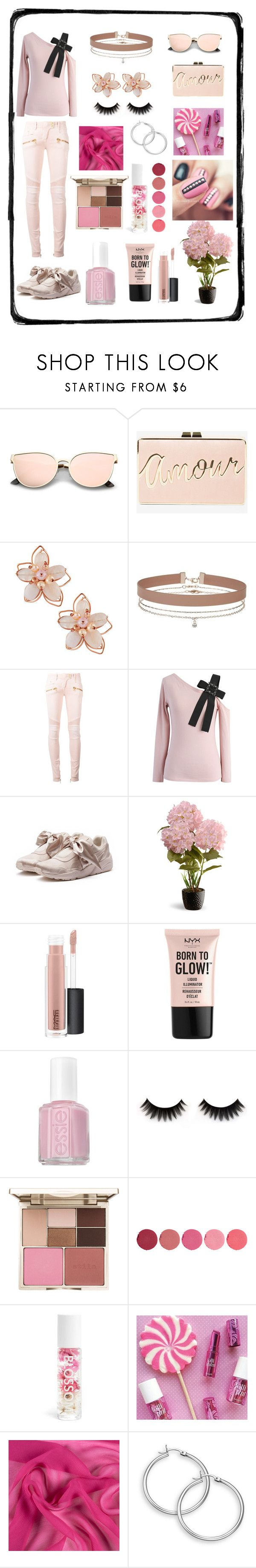 """""""Baby pink day ~"""" by queenmadhatteres ❤ liked on Polyvore featuring BCBGMAXAZRIA, NAKAMOL, Miss Selfridge, Balmain, Chicwish, Puma, National Tree Company, MAC Cosmetics, NYX and Essie"""