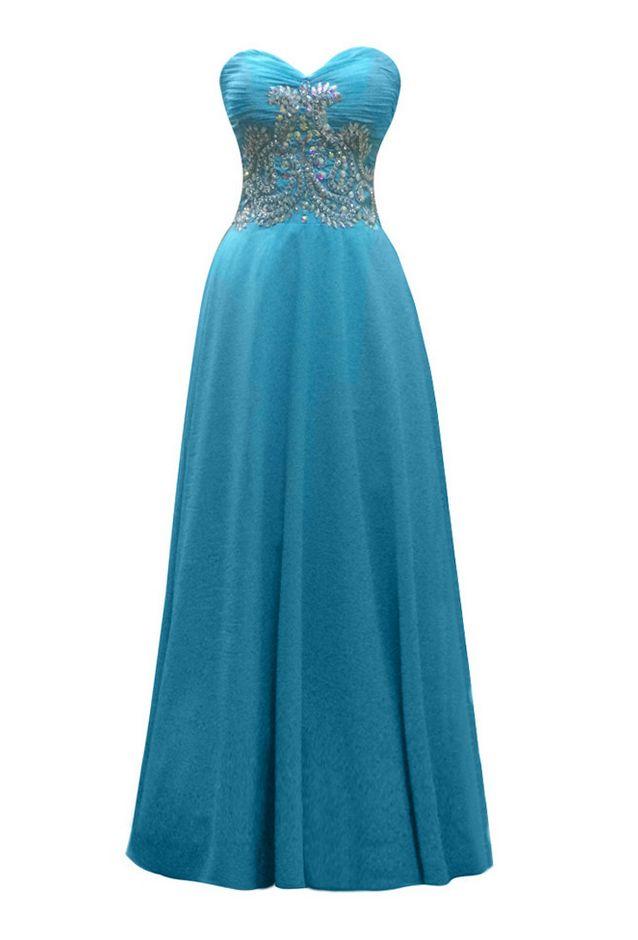De Fiesta Long Blue Chiffon Pleats Beaded Prom Dresses Elegant A-line Luxury Strapless Party Gown
