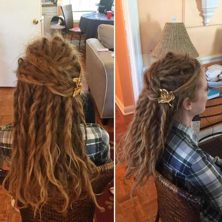 Created a dreadlock style by twisting two dreads together all around, pulling half up and overlapping one side pulled back by the other  #dreadlockhair #dreadupdo #dreadlocks #dreads