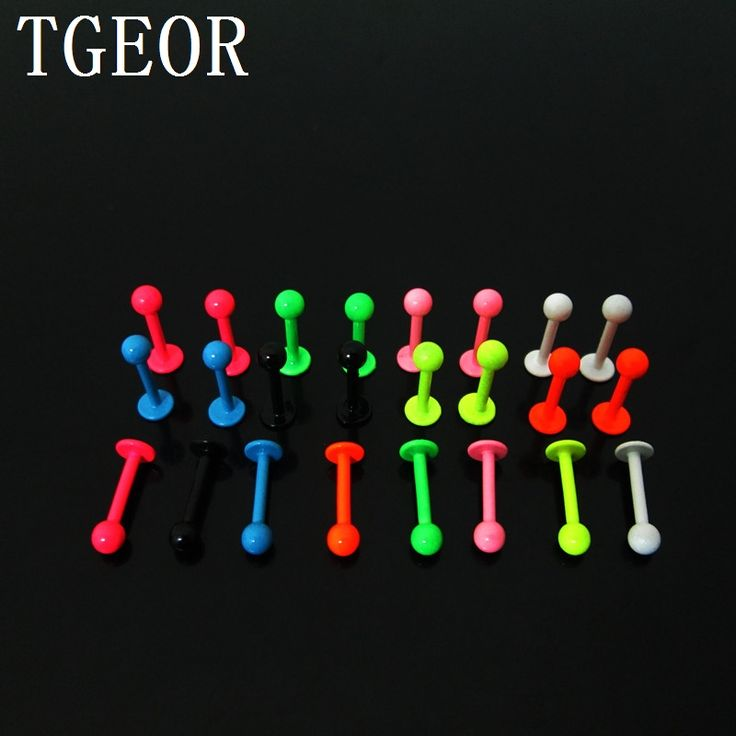 Hot new arrive wholesale 1.2*8*3mm labret piercing 100pcs surgical Stainless Steel neon colors labret lip ring