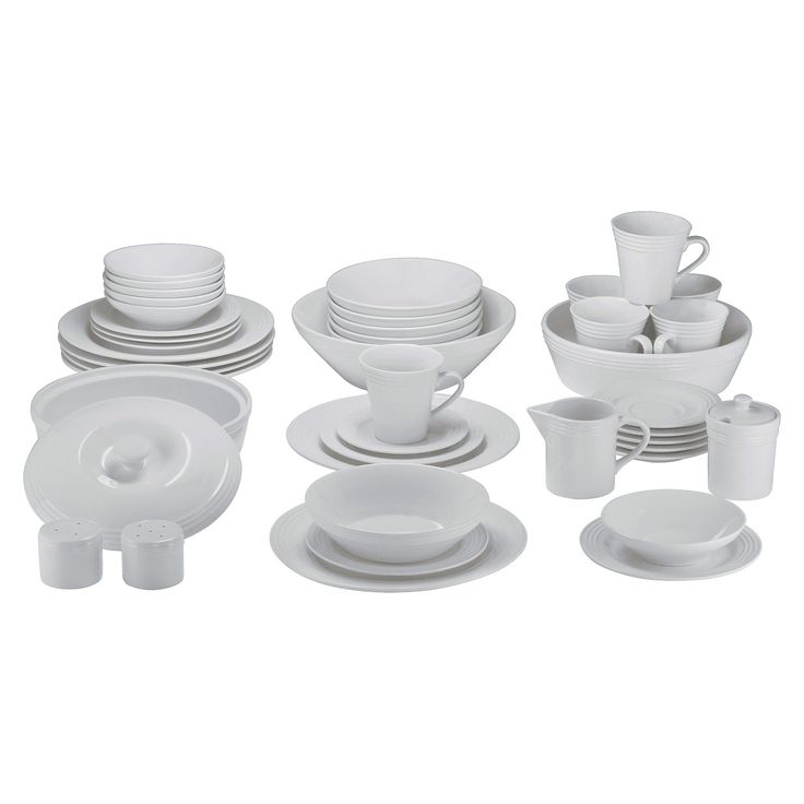 """Simple, elegant and affordable this handsome dinnerware cradles your food with a beautiful ringed rim design. The cream white porcelain is durable, microwave safe and dishwasher safe. Service for six plus serve ware and accessory pieces, the Atlas collection is ideal for everyday use or special occasions. A great addition to your home for holiday entertaining or gift a complete starter set that will be used time and time again.(6) Dinner Plates L: 10.25"""" x H..."""