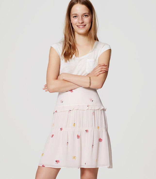 LOFT Petite Floral Flutter Skirt