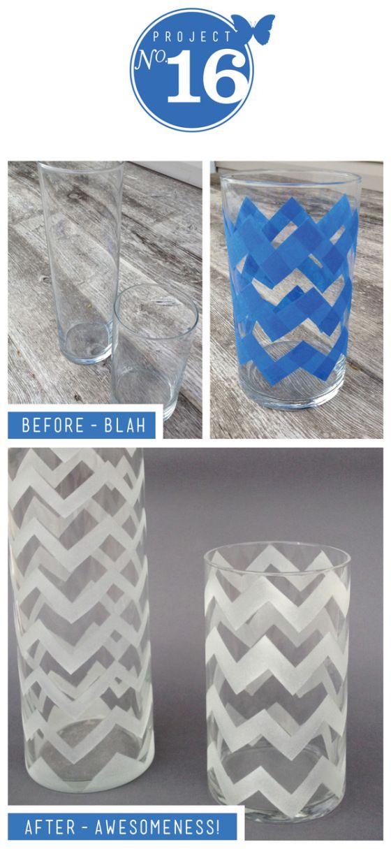 Chevron pattern DIY vase