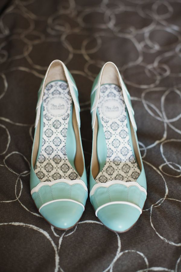 aqua wedding shoes // photo by Readyluck - apparently can be bought at BHLDN