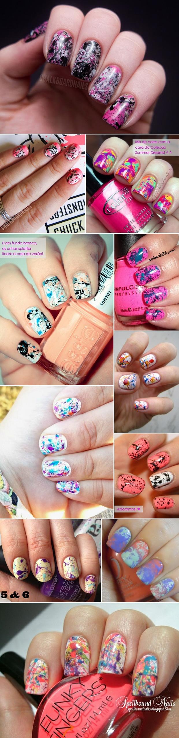 Splatter or hairspray Water Marble  nails. Nail art. Nail design. Polish.