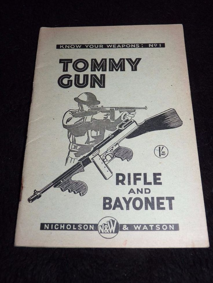 Original WW2 Tommy (Thompson)  Gun Rifle & Bayonet, booklet, Home Guard front
