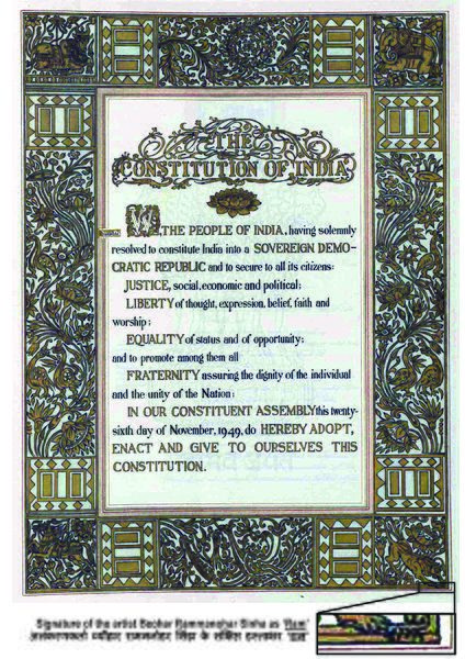 The original text of the Preamble to the Constitution of India. The Constitution of India came into force on 26 January 1950.The Constitution was adopted by the Indian Constituent Assembly on 26 November 1949, and came into effect on 26 January 1950 with a democratic government system, completing the country's transition towards becoming an independent republic. 26 January was chosen as the Republic day because it was on this day in 1930 when Declaration of Indian Independence (Purna Swaraj)…