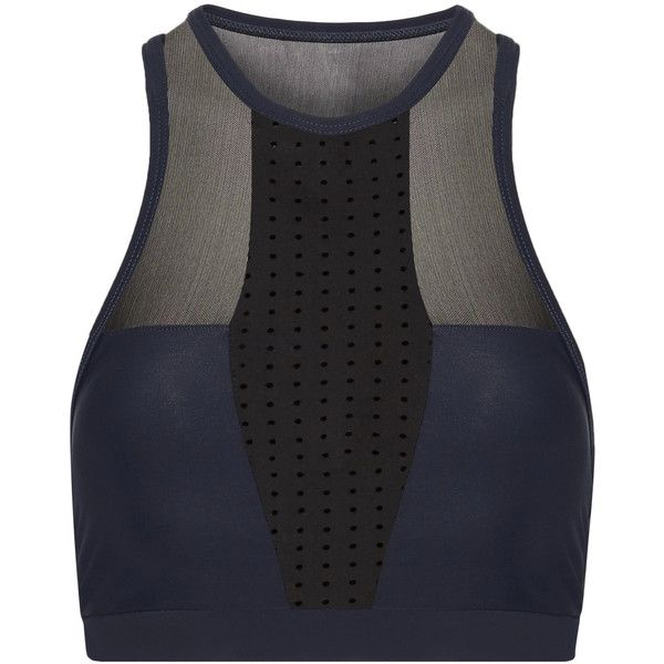 Athletic Propulsion Labs Paneled mesh and stretch sports bra (5.475 RUB) ❤ liked on Polyvore featuring activewear, sports bras, navy, yoga sports bra, navy sports bra, navy blue sports bra, mesh sports bra and yoga activewear