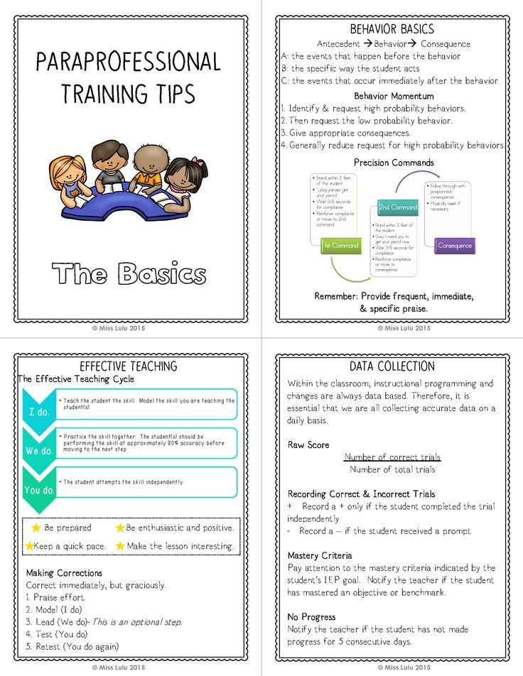 Paraprofessional training FREEBIE