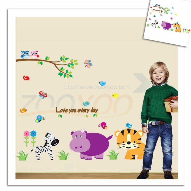 Обезьяна слон лев зоопарк животных стены стикеры для детская комната ZooYoo9046 съемный пвх наклейки на стены украшения дома DIY
