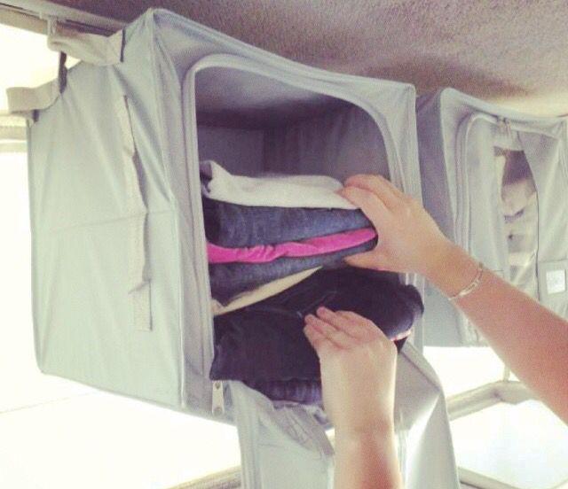 Sky Tracks storage solution. Perfect for a pop top caravan / camper trailer where storage is minimal www.skytracks.com.au