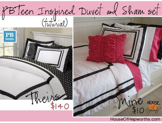 Make your own PBTeen Inspired Duvet &  Sham set using House of Hepworths awesome step-by-step tutorial.  It will rock your socks off.