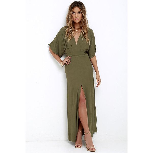 Where the Wind Blows Olive Green Maxi Dress ($72) ❤ liked on Polyvore featuring dresses, green, army green dress, olive green dress, floor length maxi skirt, white dress et white v neck dress