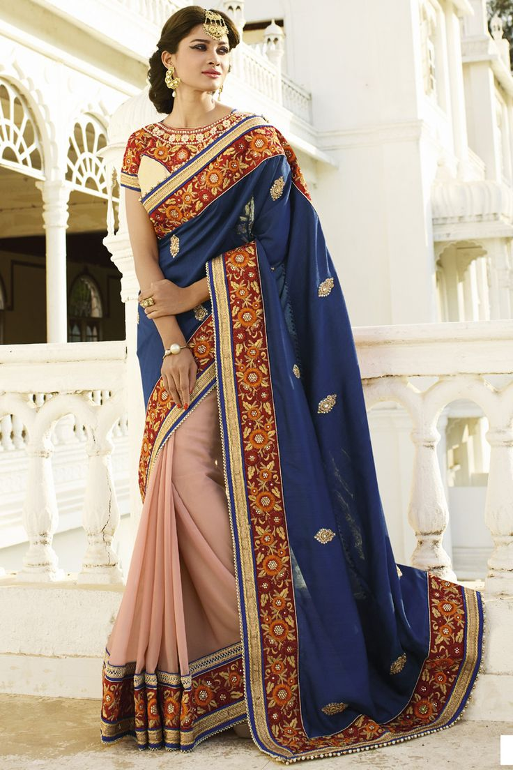NAVY BLUE-PEACH SHINE GEORGETTE IN DOUBLE COLOR DESIGNER WEDDING SAREE at Lalgulal.com. To Order :- http://goo.gl/z6gau3 To Order you Call or Whatsapp us on +91-95121-50402. COD & Free Shipping Available only in India.