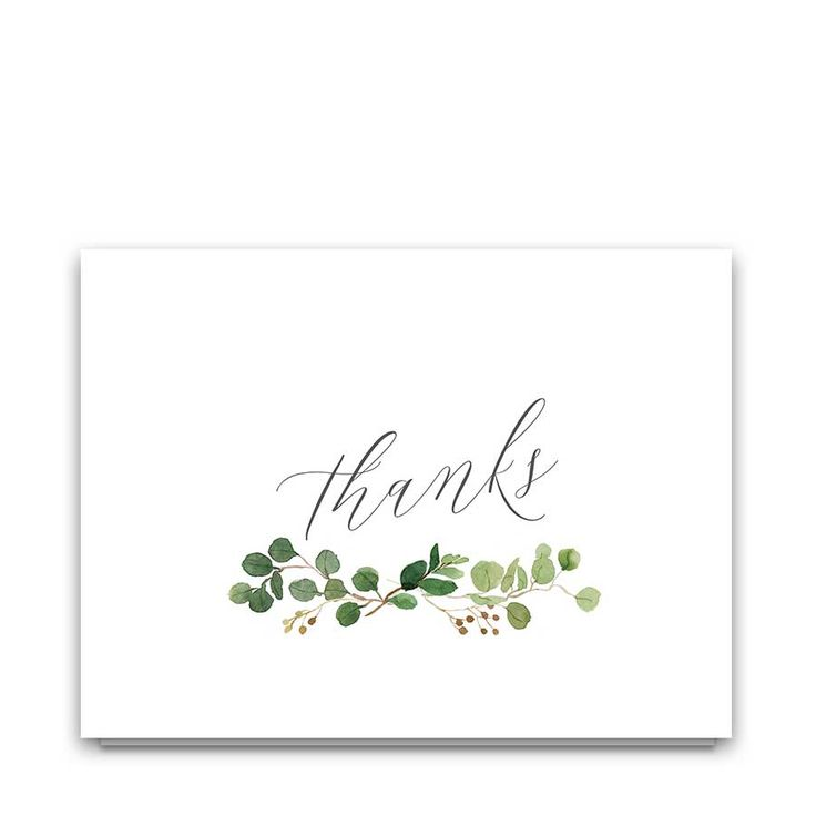 Eucalyptus Wedding Thank You Cards Watercolor Florals designed to coordinate with our Calligraphy Wedding Invitations Greenery Eucalyptus Garland suite