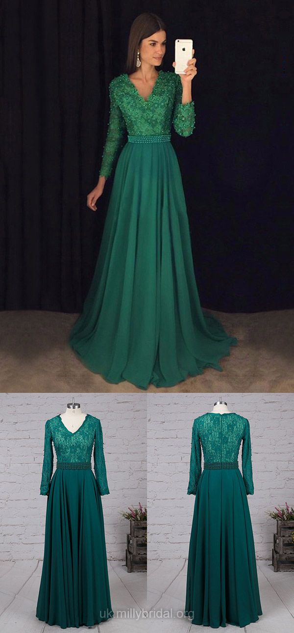 1ce141ad9d Green Prom Dresses, Long Prom Dresses With Sleeves, Lace Evening ...