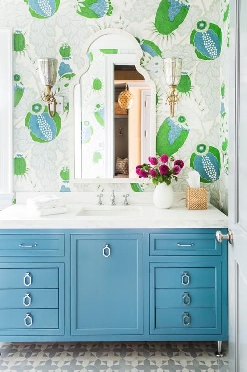 Green And Blue Bathroom Boasts A Wall Clad In Christopher Farr Carnival  Wallpaper Lined With A