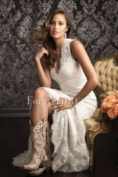 country wedding dresses made of lace | Casual White Mermaid Wedding Dress Made of of Lace and Satin..@emmaline914