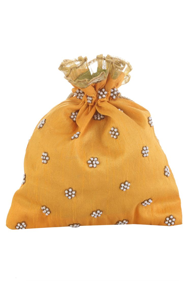 Tarusa World | Yellow Floral Potli Bag | SCARLETBINDI.COM