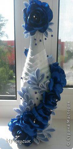 Декор предметов День рождения Цумами Канзаши Бутылочка Гжель Ленты фото 1