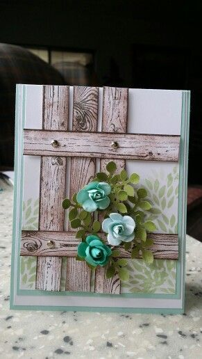 "Stampin' Up! ... handmade card ... ""Hardwood"" stamped like weather worn boards for boards for a fence ... dimension rolled roses and punched folliage ... great card!"