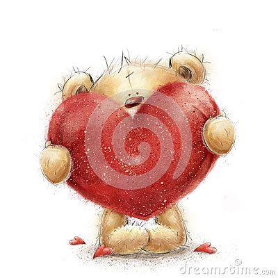 Teddybär Mit Dem Großen Roten Herzen Inneres Mit Schwänen Auf Retro  Hintergrund Liebesdesign Liebe