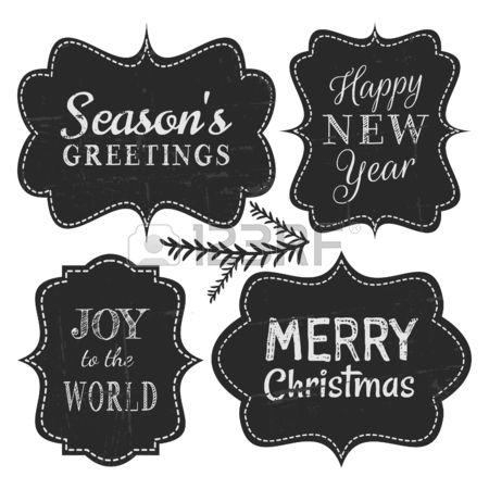 Bord stijl vintage etiketten voor Kerstmis en Nieuwjaar ge soleerd op een witte achtergrond  Stockfoto