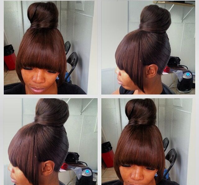 Chinese bang and high bun with weave