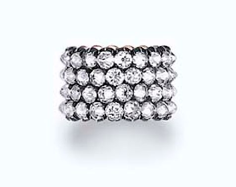 Ellen Barkin wedding band, with reverse-set diamonds, sold for $156,000 at Christie's New York in 2006
